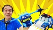 Робокар Поли покупает самолет трансформер. Видео с игрушками
