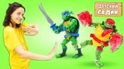 Черепашки НИНДЗЯ в бассейне с шариками - Игрушки в детском садике - Игры для детей