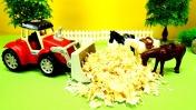 Видео для детей. Мультики про машинки. Тракторы делают пастбище для лошадей. Машины-помощники