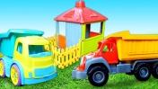Машинки и игрушки для детей - Развивающее видео для самых маленьких - Ремонтируем крышу домика