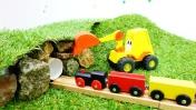 Машинки, поезд и экскаватор Мася - Тоннель в горе