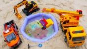 Видео про игрушки. Машины помощники строят бассейн и спасают машинку из воды