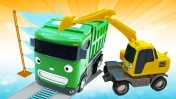 Видео про машинки помощники и игрушки из мультика Автобус Тайо: работы на стройке!