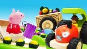 Игрушечные машинки помощники. Трактор, погрузчик, грузовик и Свинка Пеппа работают на грядке!