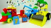 Машинки - Строим поезд из конструктора - Кубики и цифры