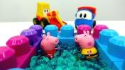 Видео с игрушками - Про Леву, Свинку Пеппу, Экскаватор и бассейн