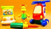 Мультики: Жирафик, Грузовичок и Вертолётик. Игрушки для детей.