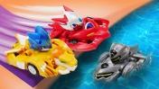 Крутые игрушки ТРАНСФОРМЕРЫ из мультика Монкарт! Гонки машинок и ПЛЮХ с трамплина в бассейн!