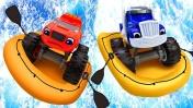 Чудо машинки и новые игры гонки - Вспыш и Крушила плывут по реке! – Видео с игрушками для детей.