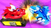 Видео с игрушками Монкарт. Гонки машинок на трассе приводят их в Мастерскую