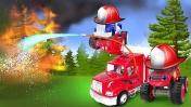 МАШИНКИ Вспыш и Крушила устроили костер в лесу. Видео, как большая пожарная машинка тушит пожар