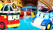 Поли Робокар - Игры с машинками - Видео в аквапарке