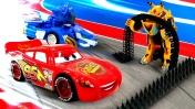 Игрушки ТРАНСФОРМЕРЫ. Игры для мальчиков: Маквин, Вспыш, Лео — гонки машинок. Видео для детей