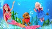 Барби РУСАЛКА все серии - Превращение в русалку! Мультики с куклами - Barbie Dolls