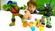 Черепашки Ниндзя играют в боулинг. Видео для детей