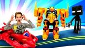 Гонки Монкарт - Васпер vs Драка. Игрушки Машинки и Майнкрафт. Видео для мальчиков