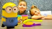 Видео для детей. Вафли для Миньона из Плей До