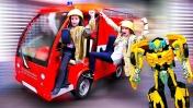 Игры с Трансформерами - Пожарные спасают Бамблби! - Видео для мальчиков из Мастерславля.