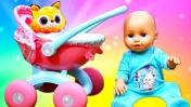 Распаковка коляски для Беби Анабель - Пупсики Беби Аннабель. Видео для детей Как Мама
