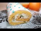 Бисквитный Рулет с Начинкой из Фруктов и Творожного крема